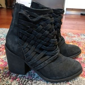 Free People black leather boho chic weaved booties